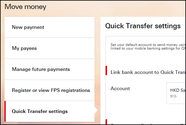 quick transfer settings